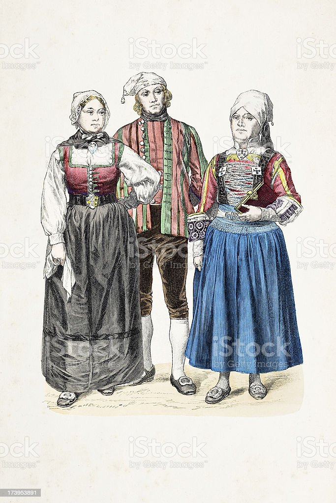 German people Friesland in traditional clothing from 1870 royalty-free stock vector art