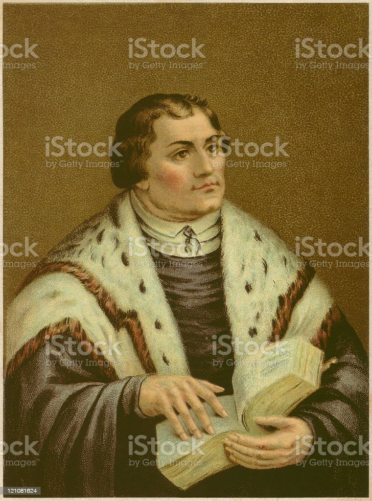 German reformer Dr. Martin Luther (1483-1546), lithograph, published in 1883 royalty-free stock vector art