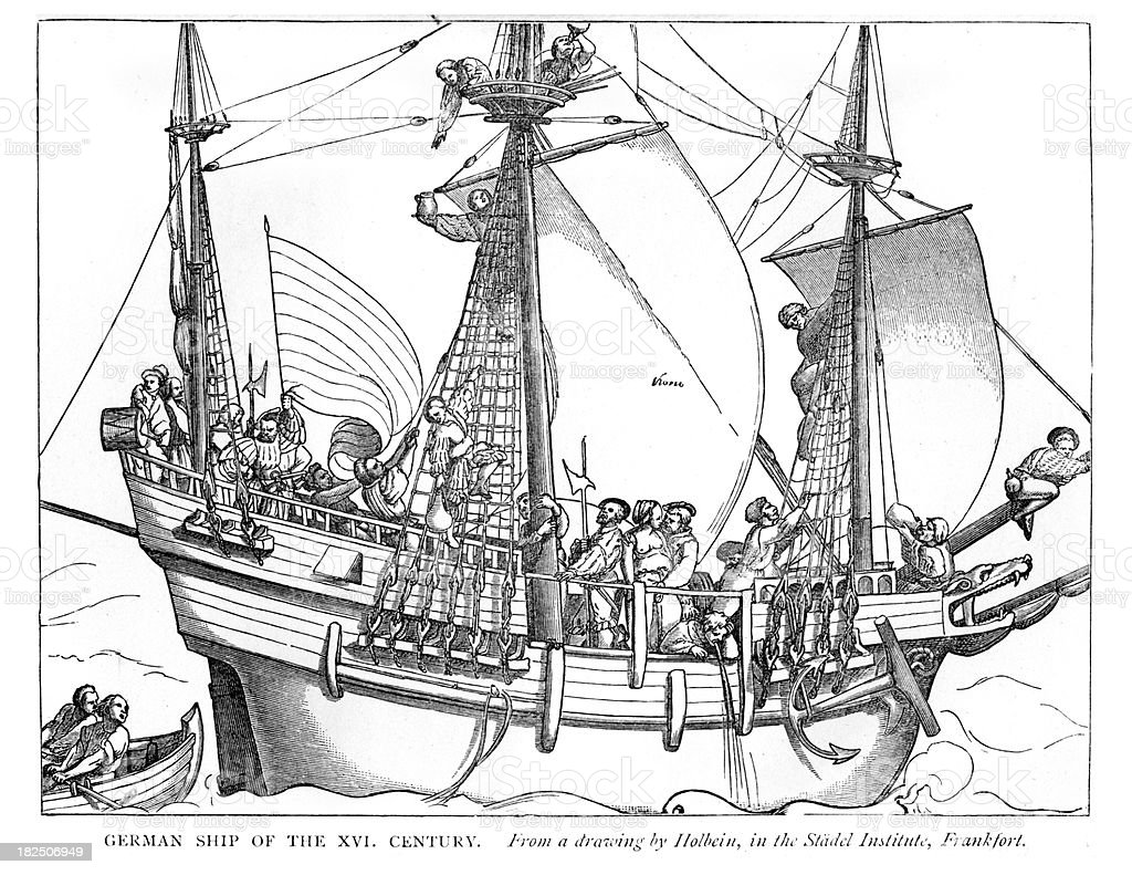 German ship of the 16th Century vector art illustration