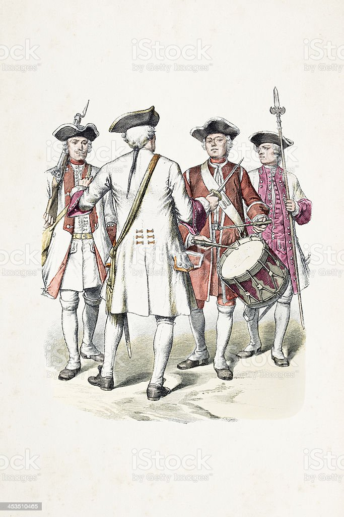 German soldiers of Wurttemberg in uniform from 1724-38 royalty-free stock vector art
