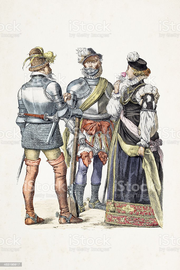German soldiers with different costumes from 16th century vector art illustration