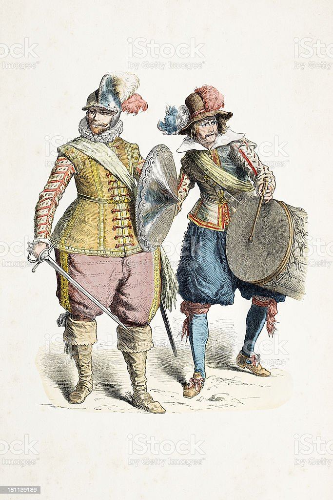 German soldiers with different costumes from 17th century vector art illustration