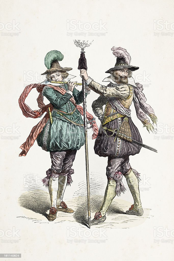 German soldiers with different costumes from 17th century royalty-free stock vector art