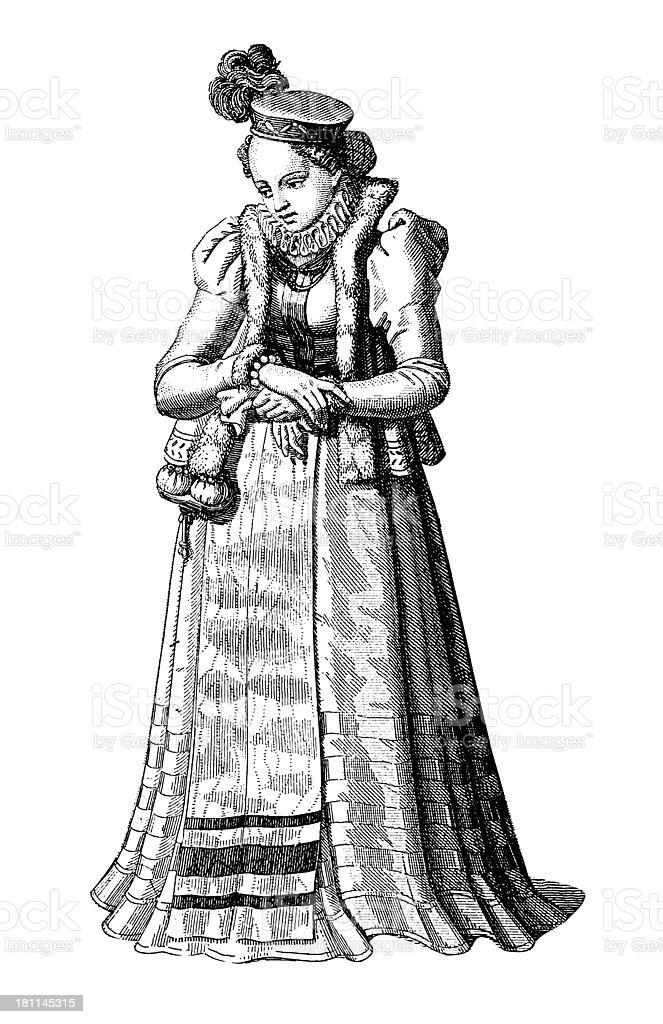 German woman, XV to XVI century (antique wood engraving) vector art illustration