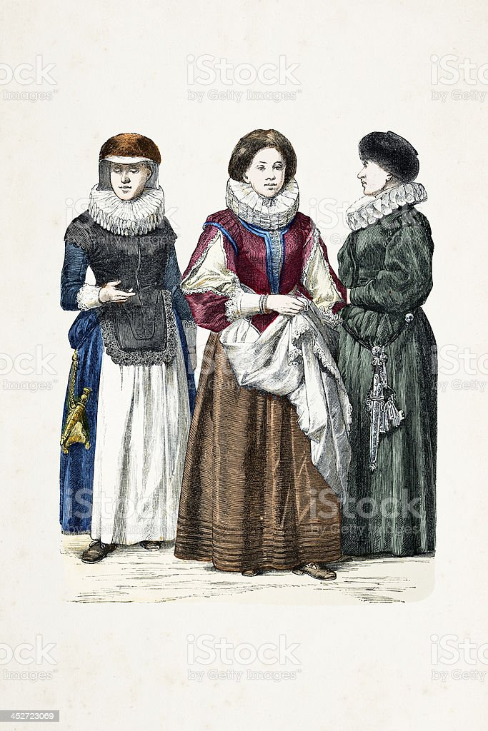 German women in traditional clothing from 1644 vector art illustration