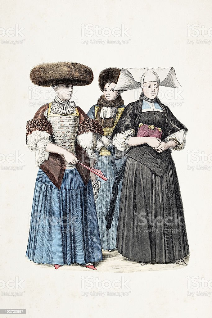 German women of Strasbourg in traditional clothing from 1670 vector art illustration