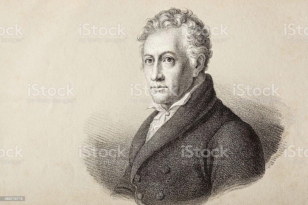 German writer Johann Wolfgang von Goethe vector art illustration
