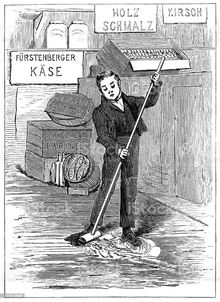 German youth sweeping a shop floor vector art illustration