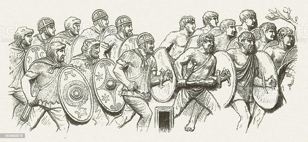 Germanic bodyguards of the Roman emperor, from Column of Trajan vector art illustration