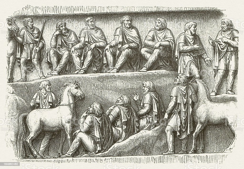 Germanic council, bas-relief, Colonna Antonia, wood engraving, published in 1880 royalty-free stock vector art