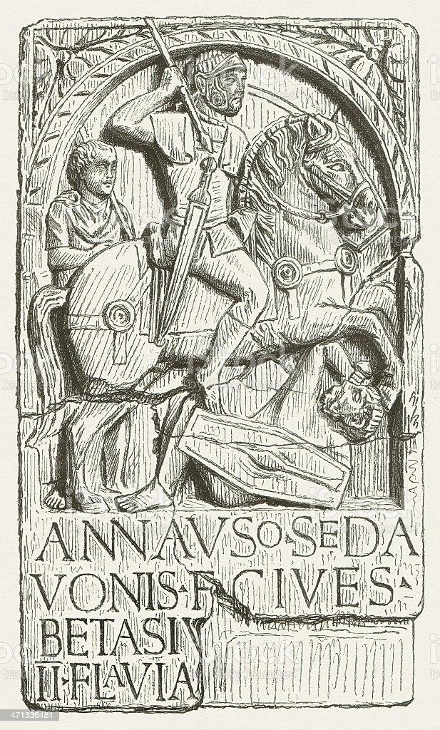 Germanic rider from the Auxiliaries, Roman tombstone, 1st century vector art illustration