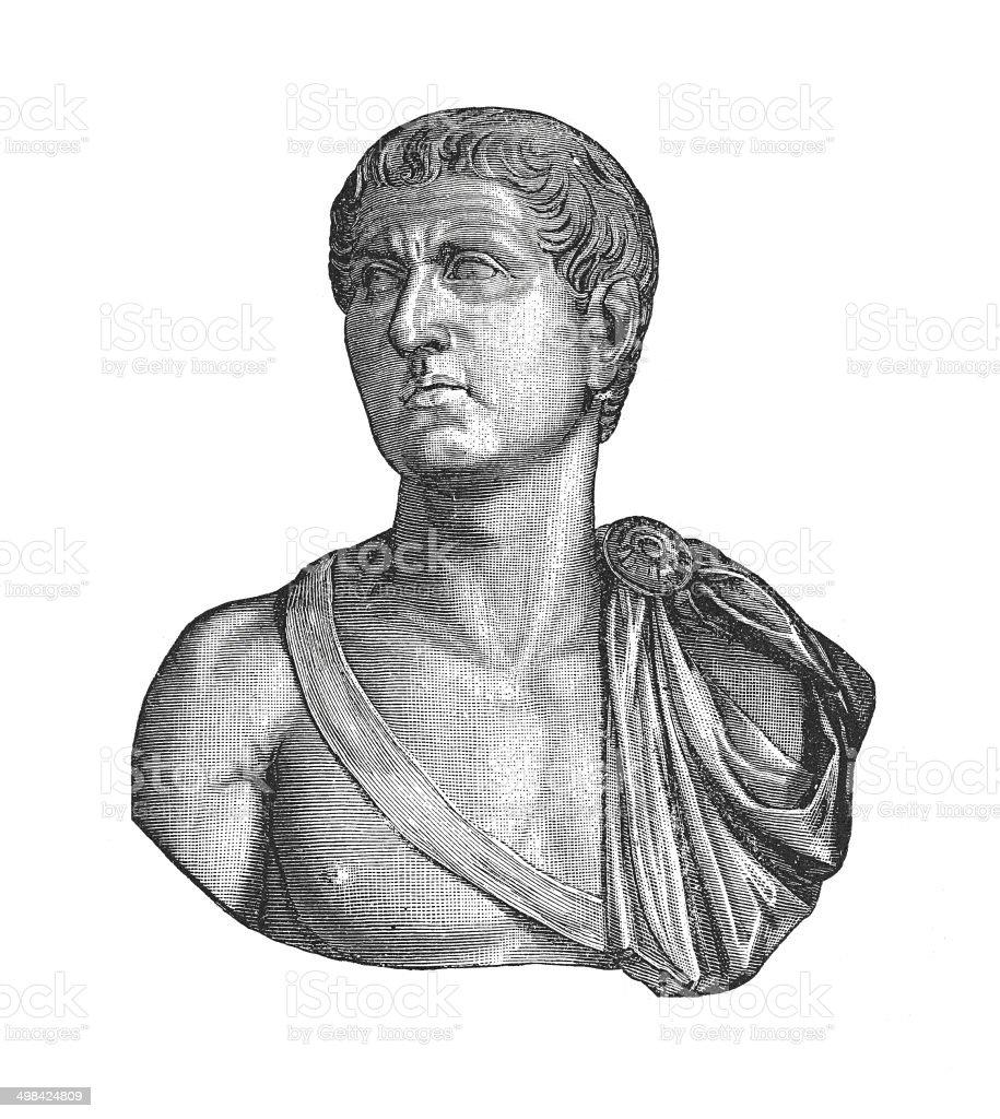 Germanicus Julius Caesar (antique engraving) vector art illustration