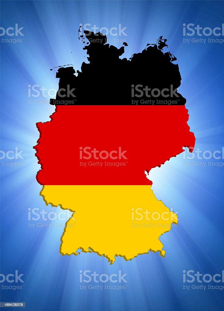 Germany map with flag vector art illustration