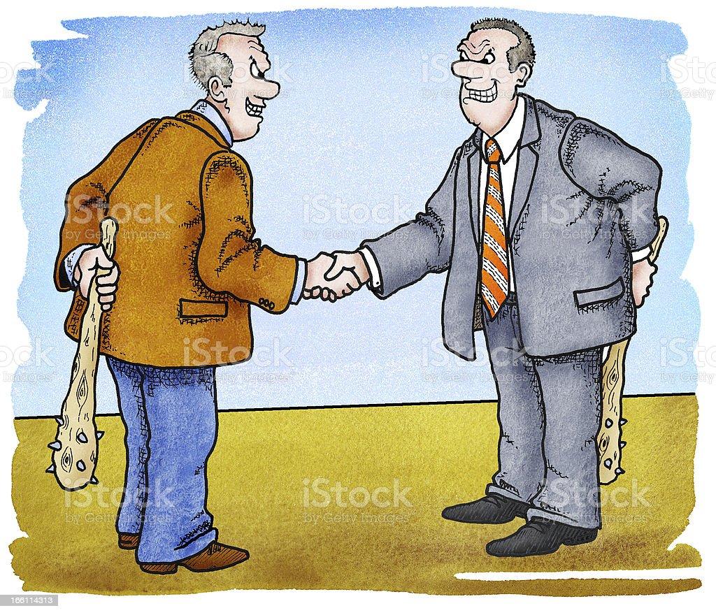 Geschäftsleute begrüßen sich. Mit Keulen. royalty-free stock vector art