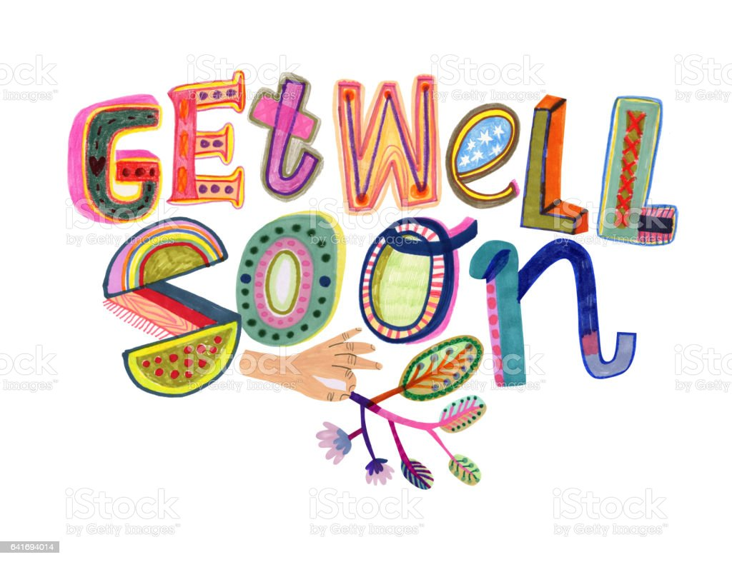 Get well soon text vector art illustration