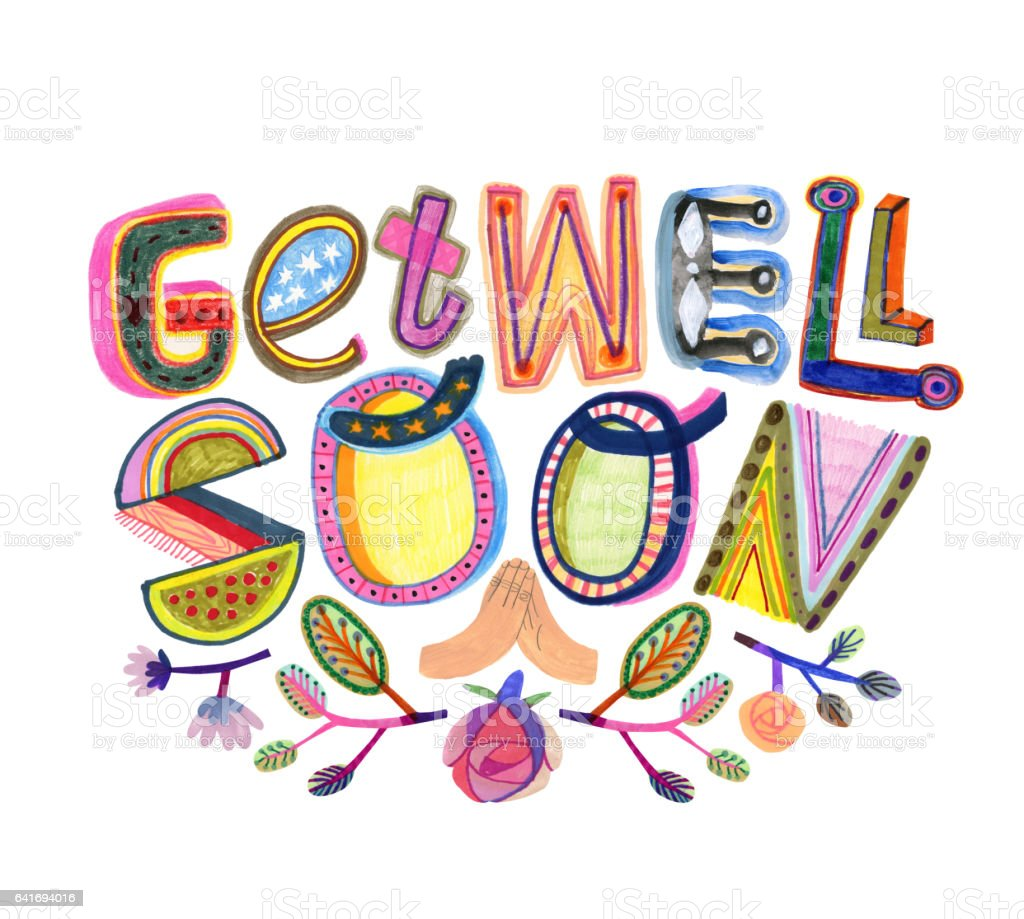 Get well soon text vector art illustration