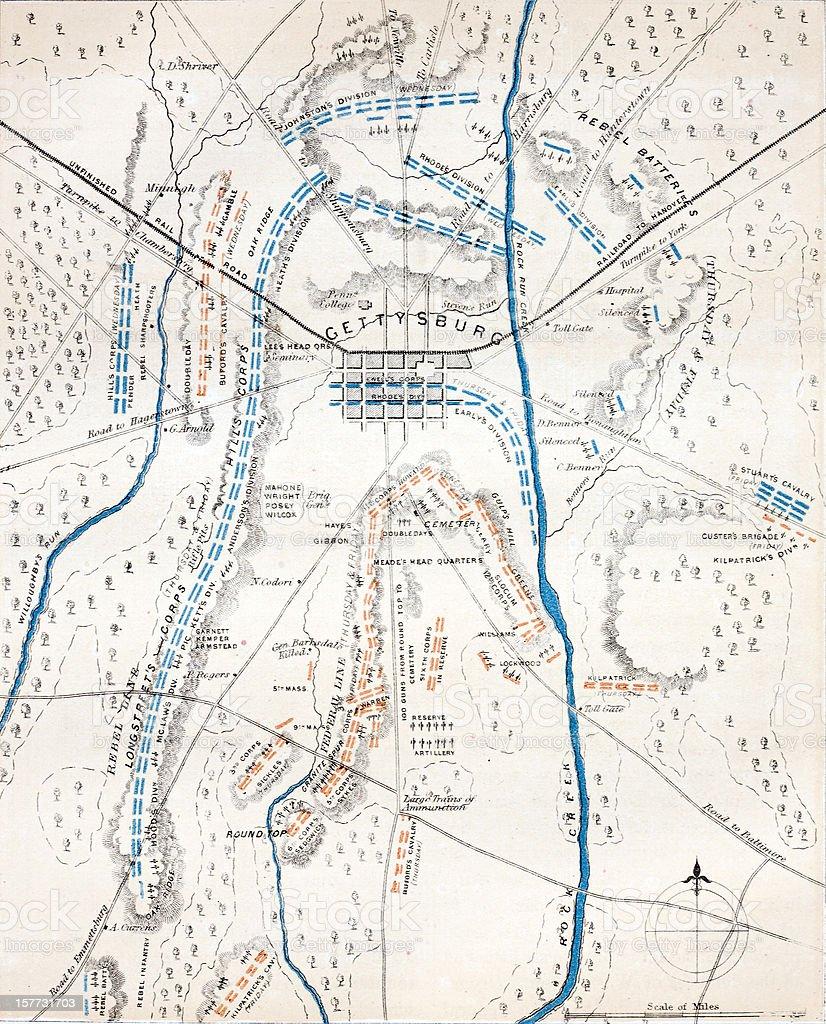 Gettysburg - American Civil War Map vector art illustration