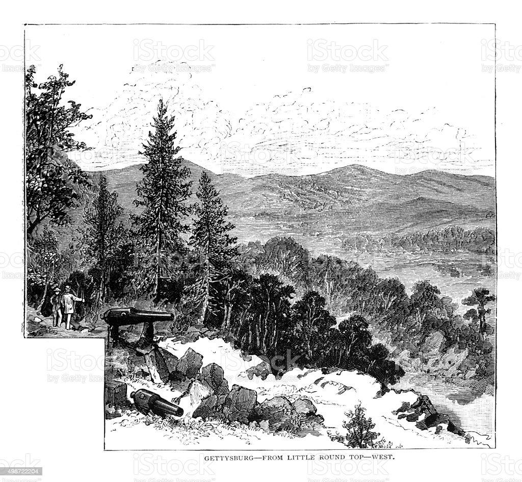 Gettysburg from Little Round Top vector art illustration
