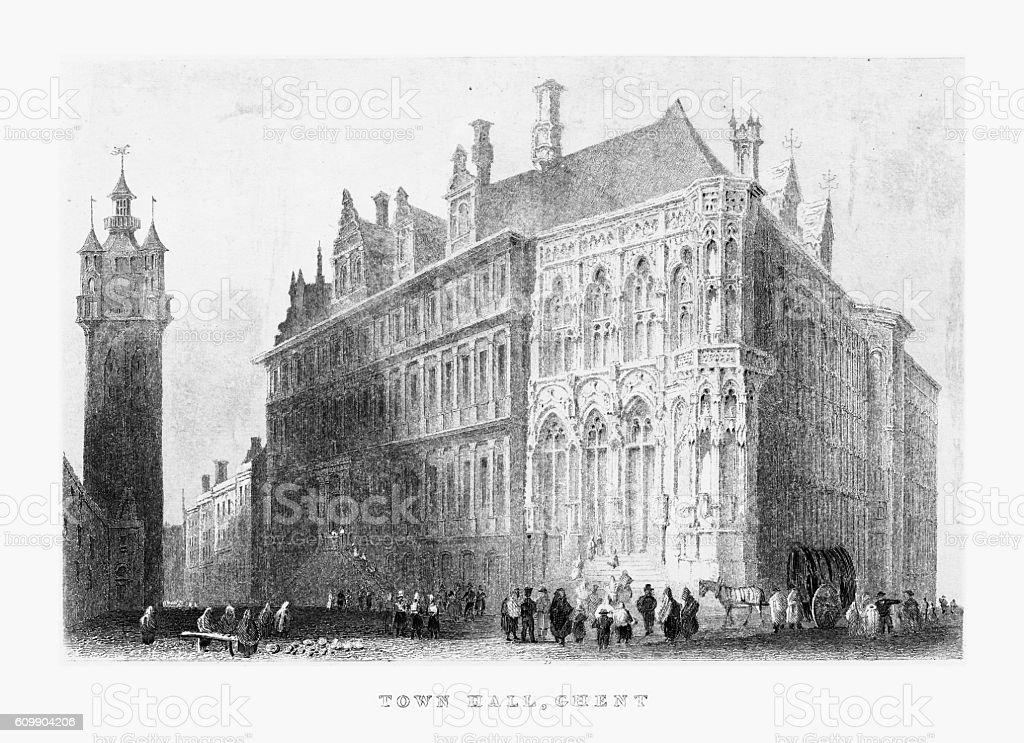 Ghent Town Hall, Ghent, Belgium Circa 1887 vector art illustration
