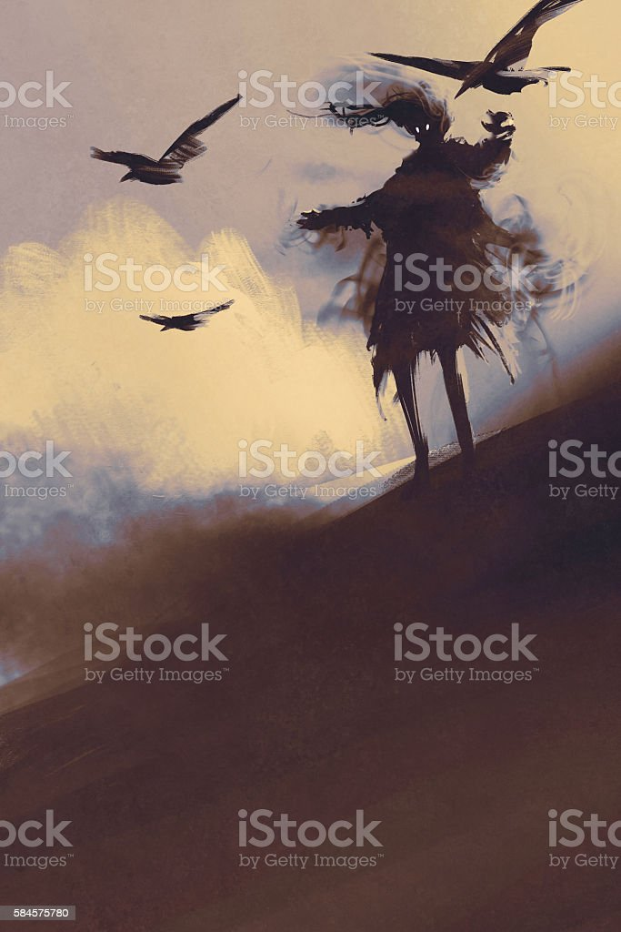 ghost with flying crows in the desert vector art illustration