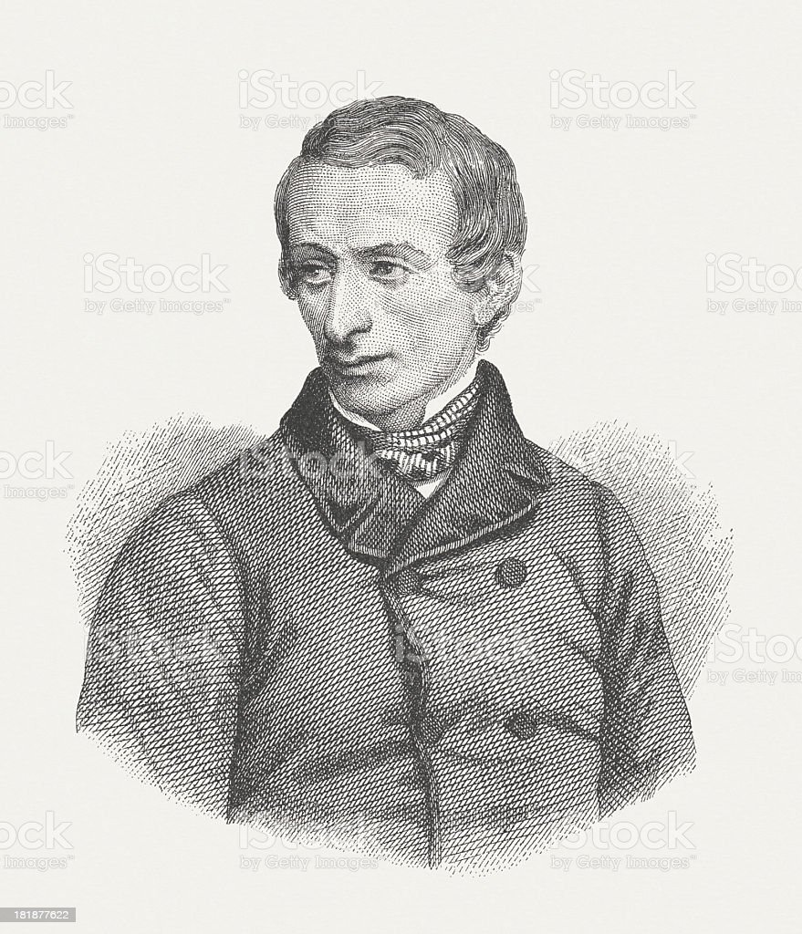 Giacomo Leopardi (1798-1837), Italian poet, wood engraving, published in 1882 royalty-free stock vector art