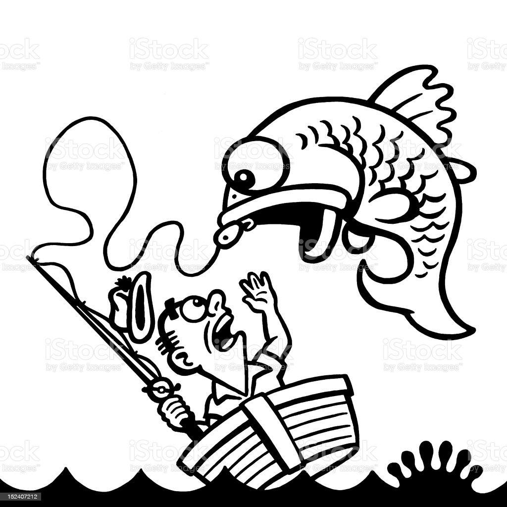 Giant Fish Jumping Into Boat vector art illustration