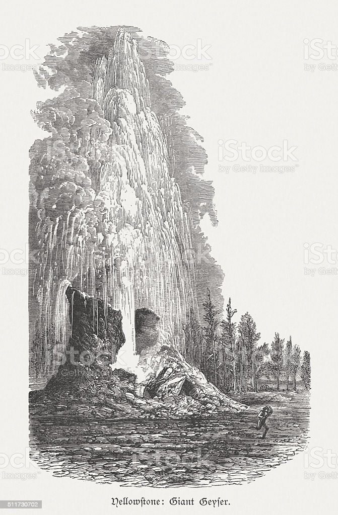Giant Geyser, Yellowstone National Park, wood engraving, published in 1880 vector art illustration