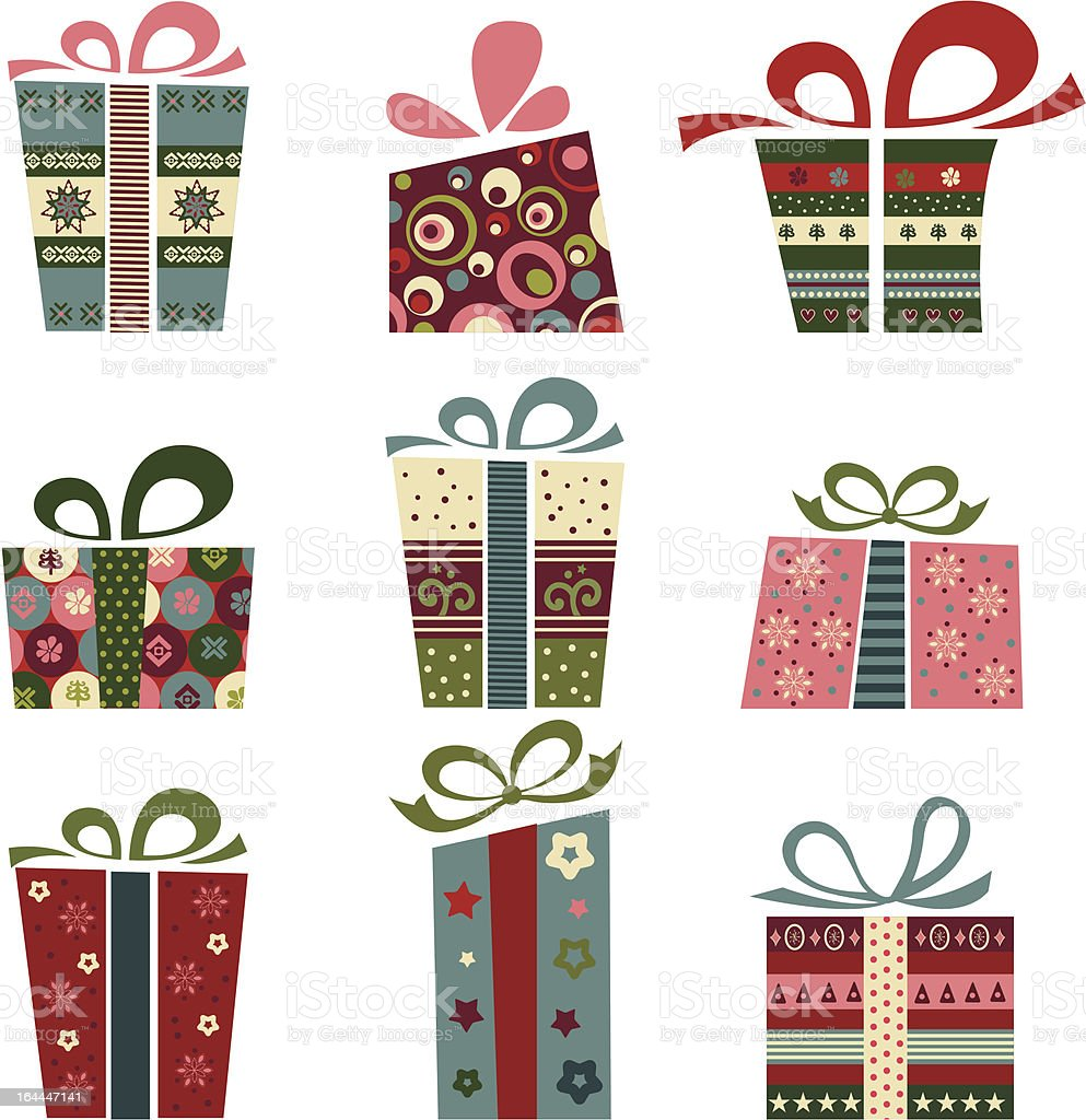 Gift box collection royalty-free stock vector art