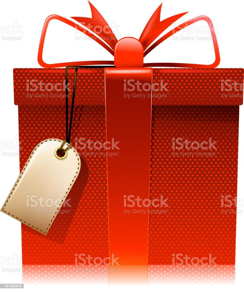 gift box with tag vector art illustration
