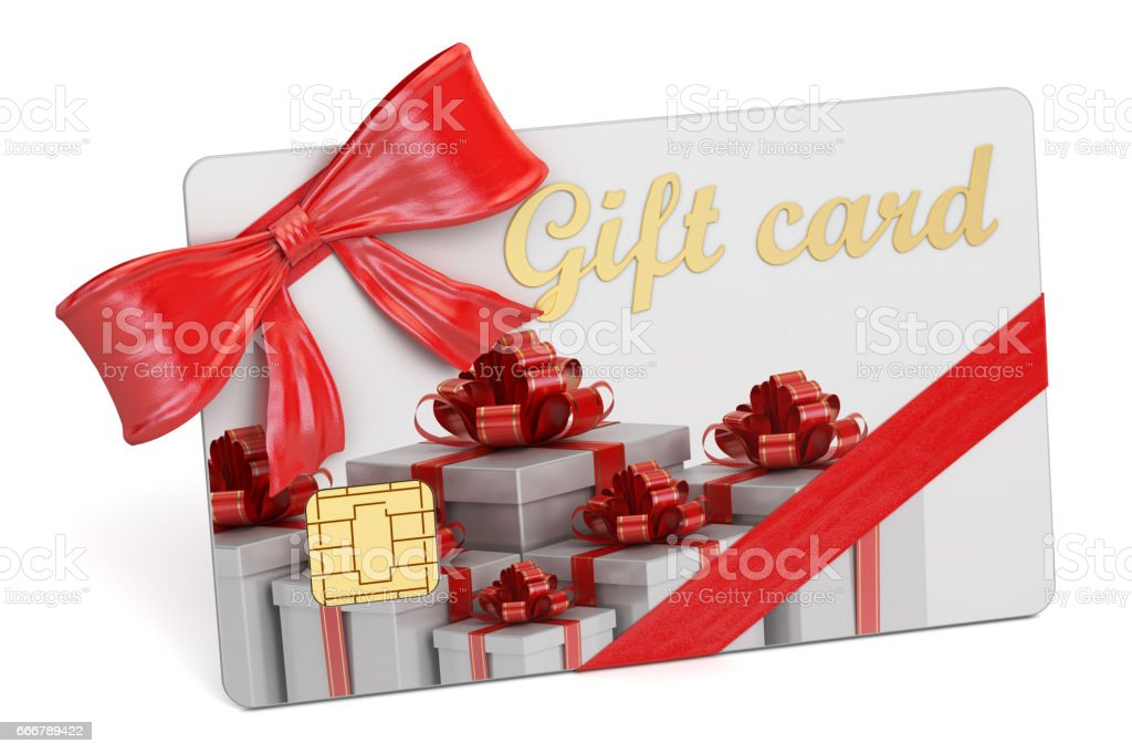 Gift card, 3D rendering isolated on white background stock photo