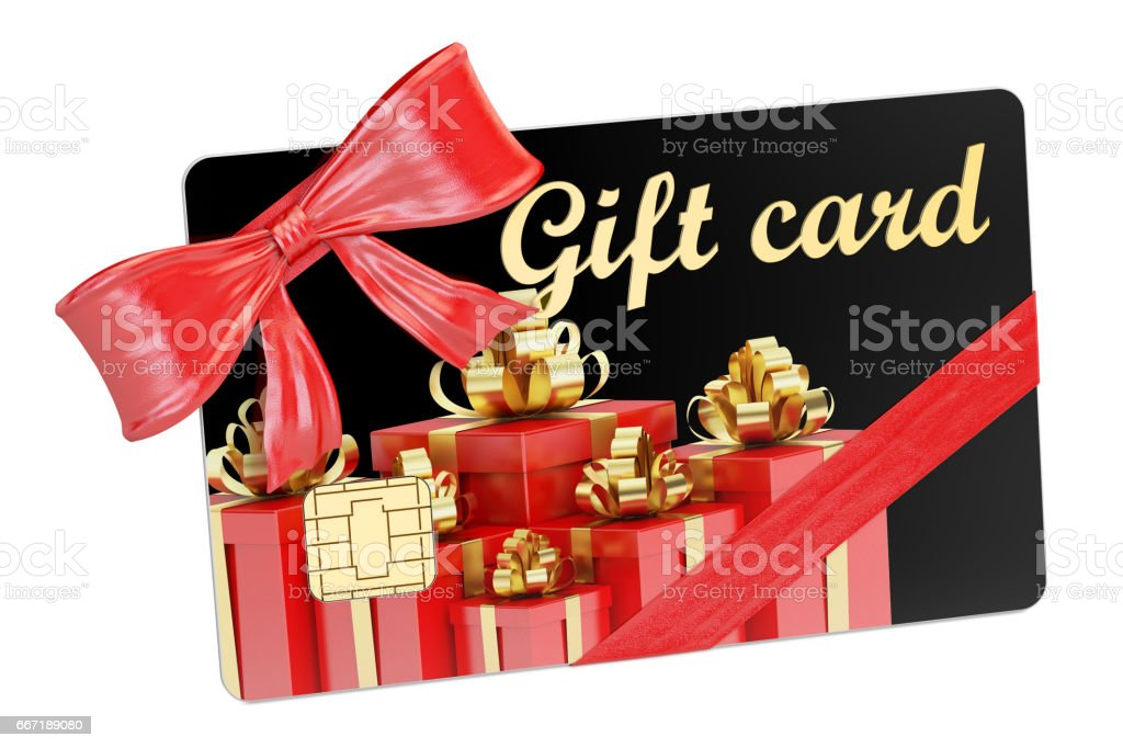 Gift card closeup, 3D rendering isolated on white background stock photo