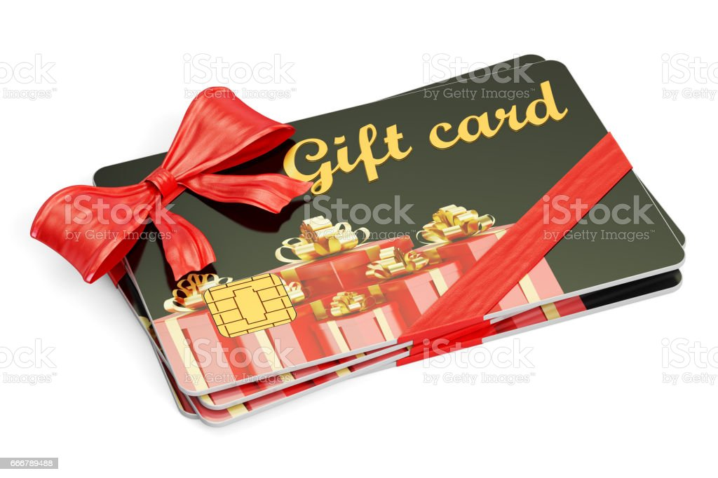 Gift cards, 3D rendering isolated on white background stock photo