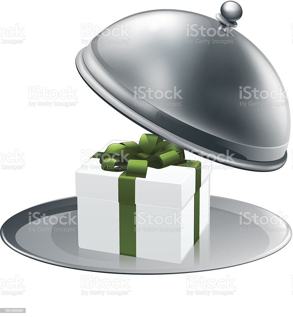 Gift on a silver platter royalty-free stock vector art