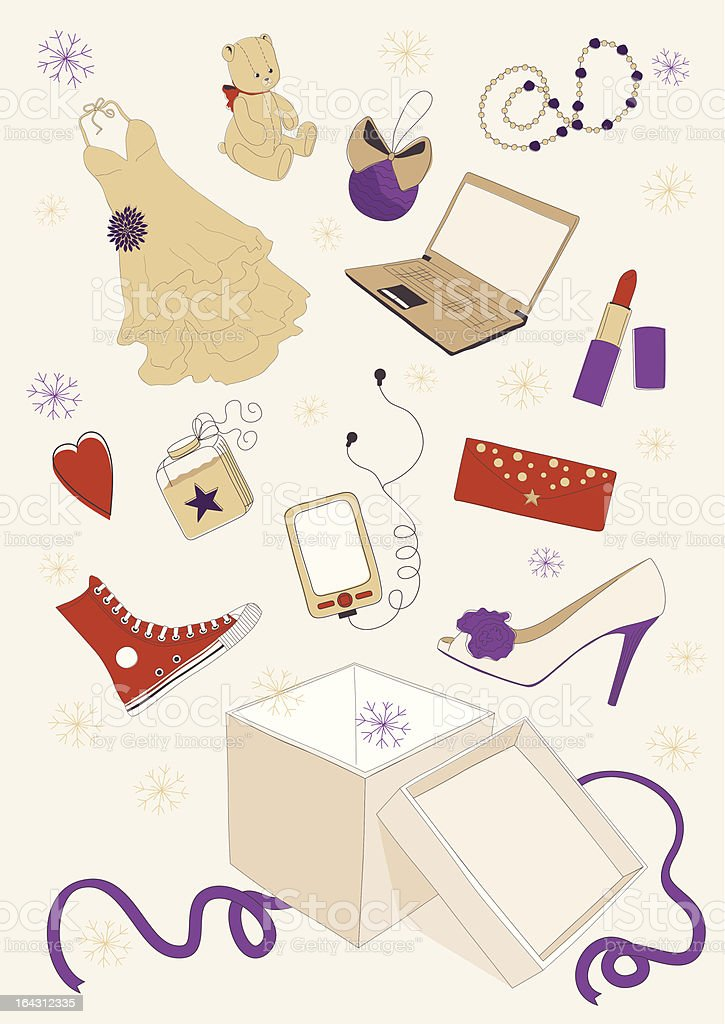 Gifts out of Box royalty-free stock vector art