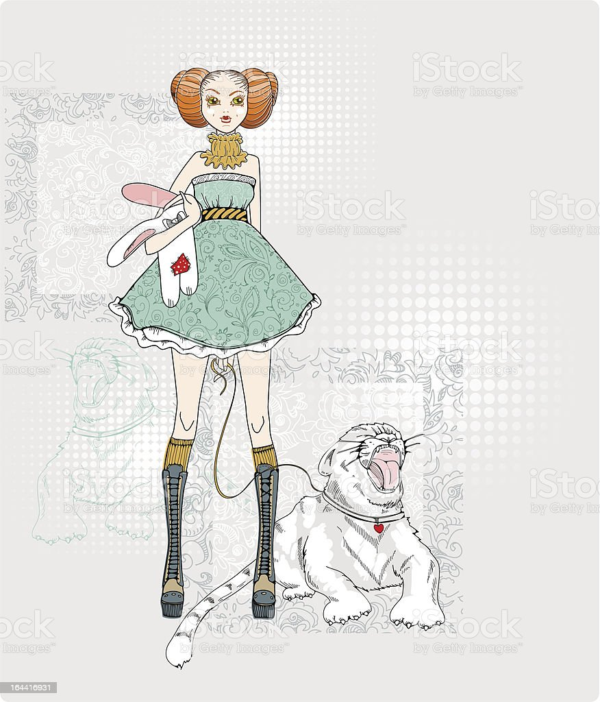 Ginger girl with two toys royalty-free stock vector art