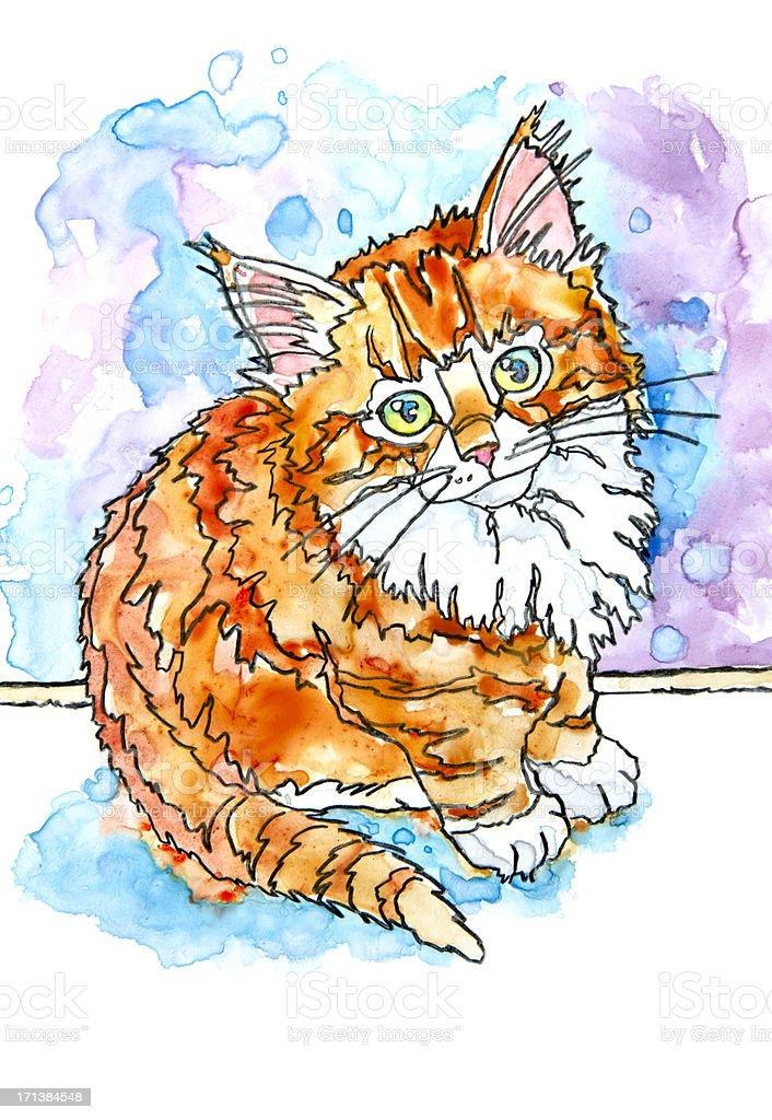 Ginger Kitten vector art illustration