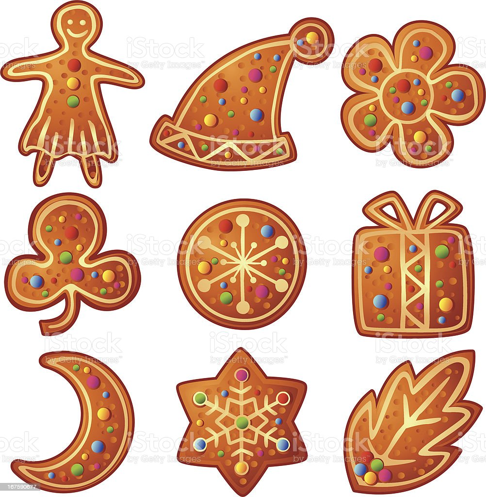 Gingerbread Cookies for Christmas Holidays Vector royalty-free stock vector art