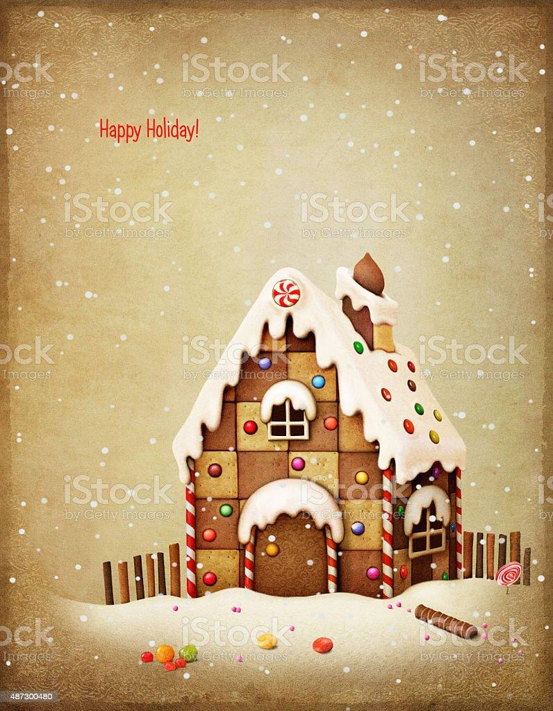Gingerbread house vector art illustration
