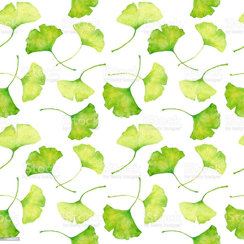 Ginkgo leaves pattern. Watercolor vector art illustration