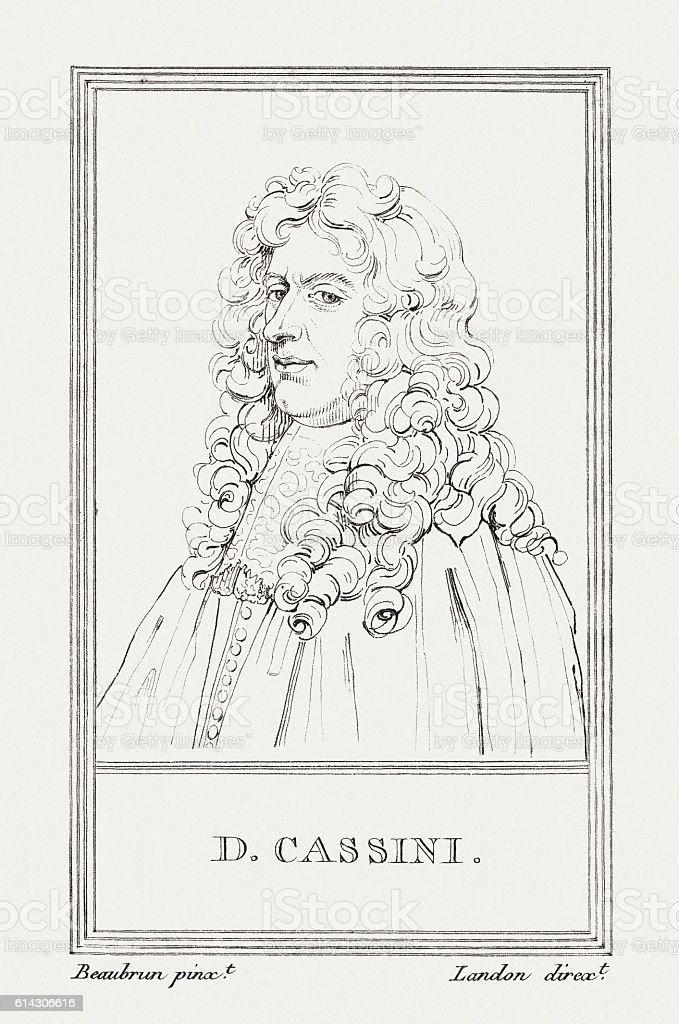 Giovanni Domenico Cassini (1625-1712), Italian scientist, copper engraving, published 1805 vector art illustration