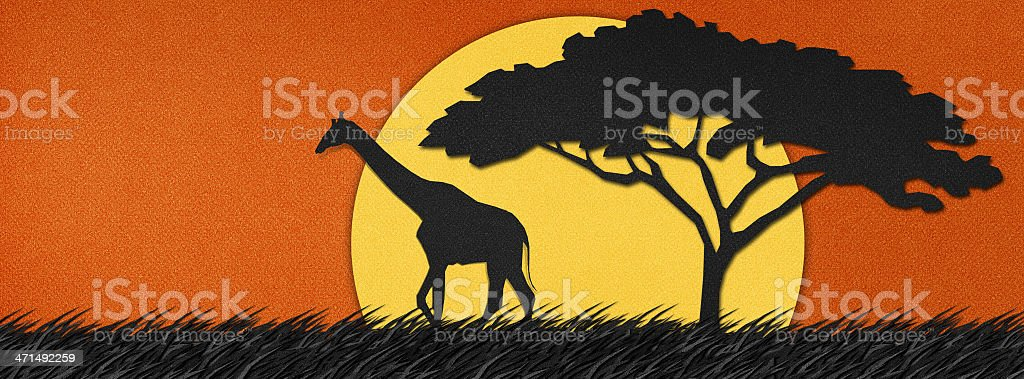 Giraffe made from recycled paper background royalty-free stock vector art