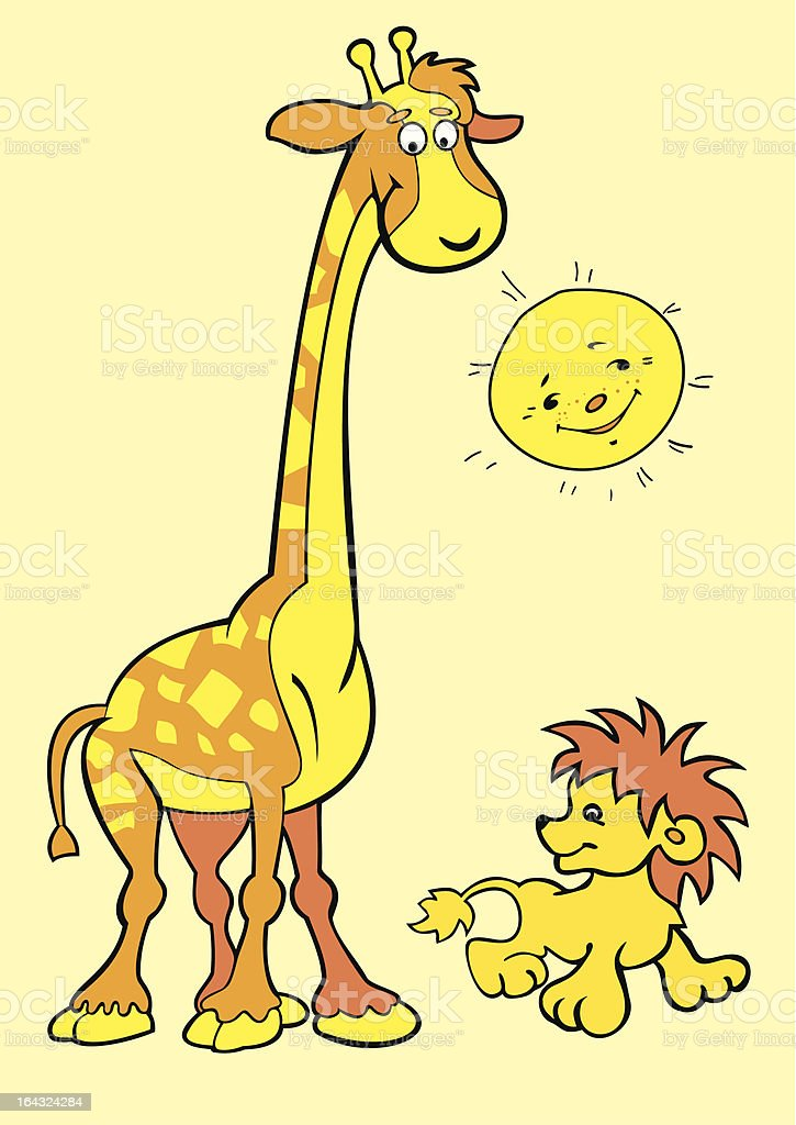 Giraffe with young lions. royalty-free stock vector art
