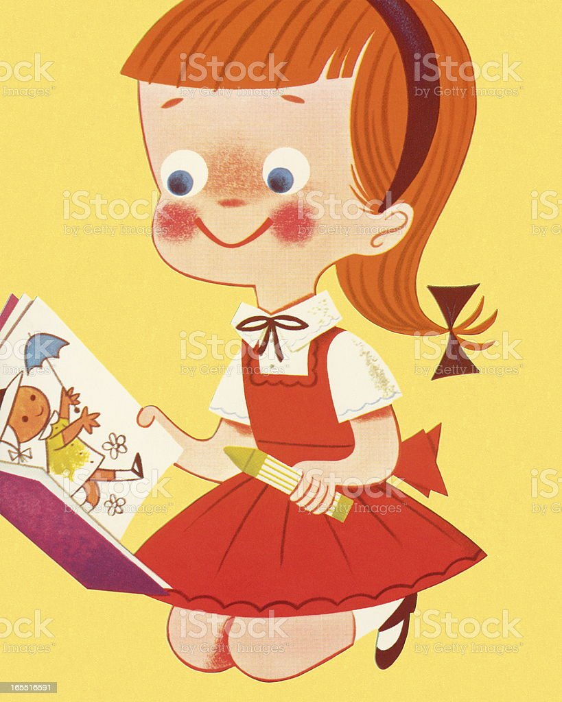 Girl and a Coloring Book royalty-free stock vector art