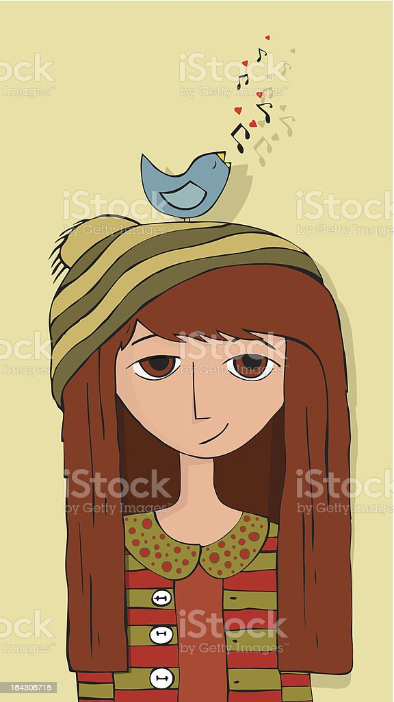 Girl and BlueBird royalty-free stock vector art
