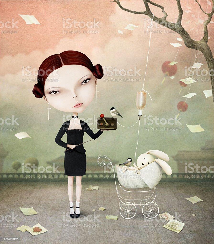 Girl and Bunny vector art illustration