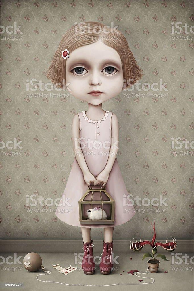 Girl and her pet. vector art illustration