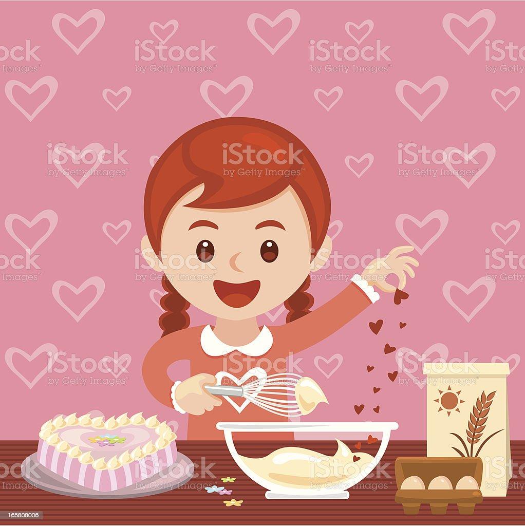 Girl baking valentine's day cake vector art illustration