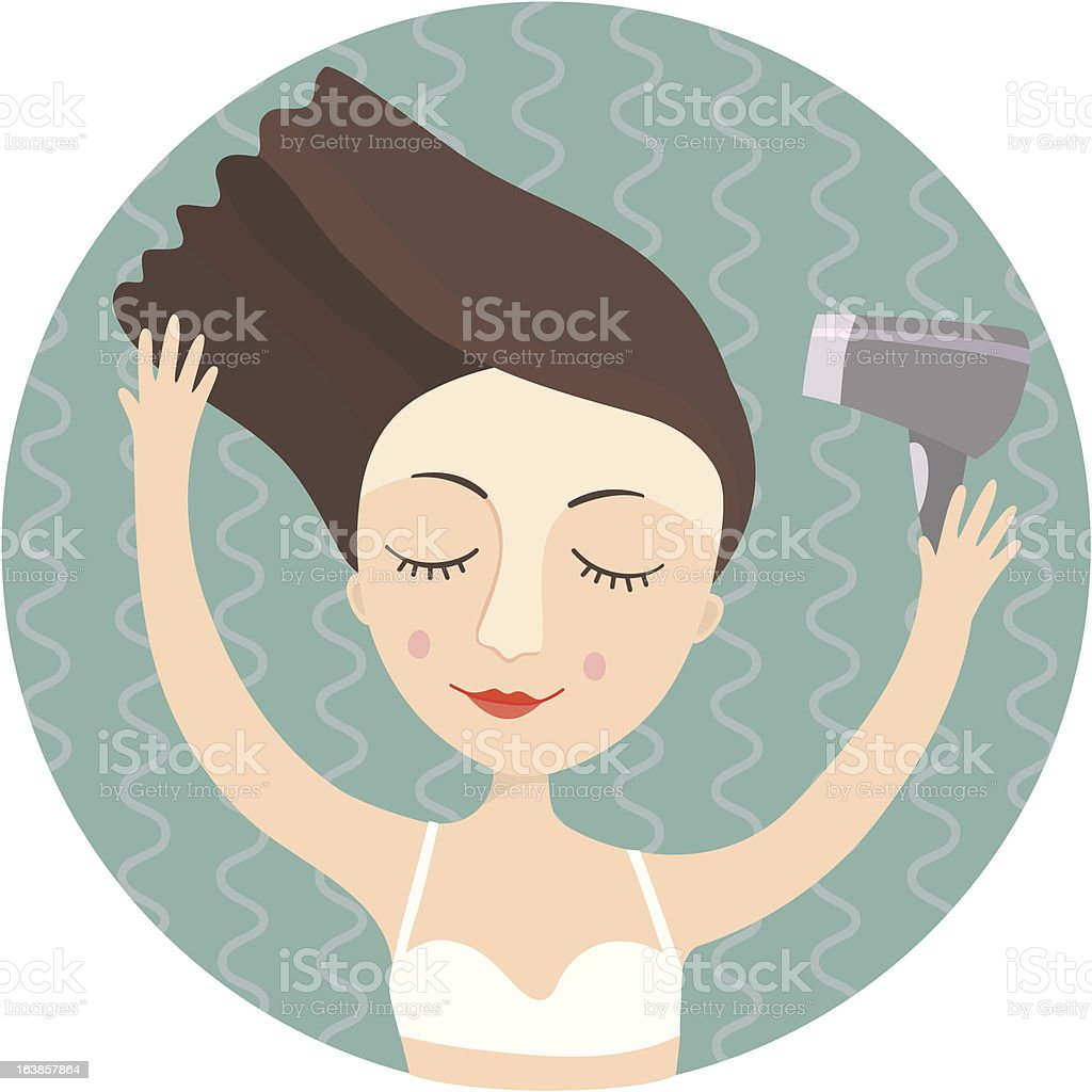 Girl blow dry hair royalty-free stock vector art