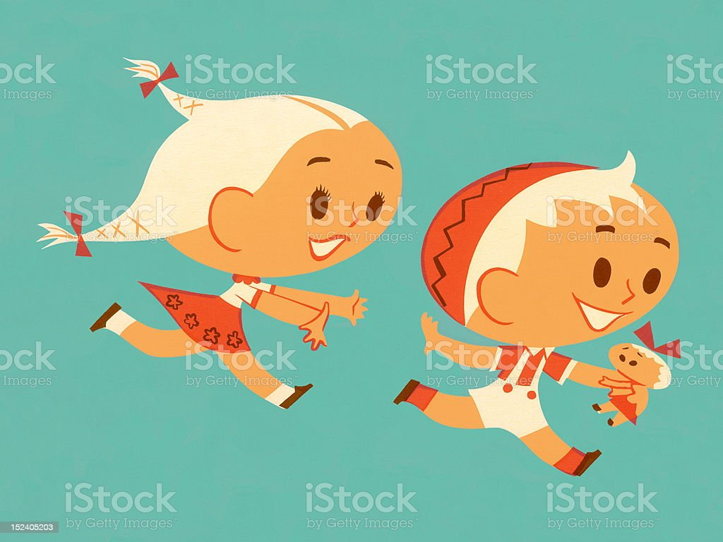 Girl Chasing Boy With Doll royalty-free stock vector art