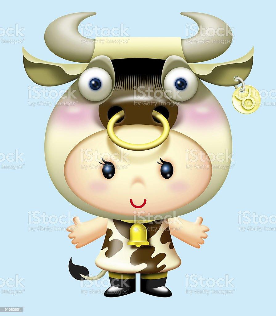 Girl Crossplay Horoscope Tuarus royalty-free stock vector art
